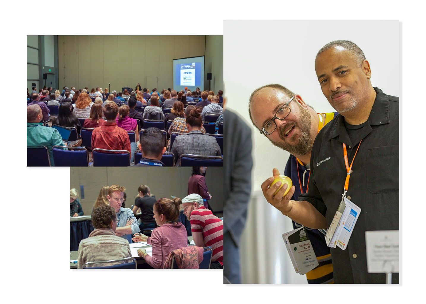 Conference sessions full of people